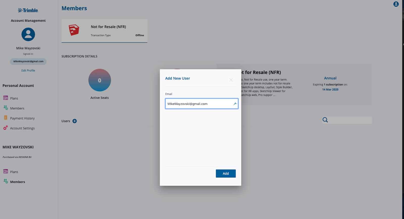 Account Management Portal e-mail adres invullen