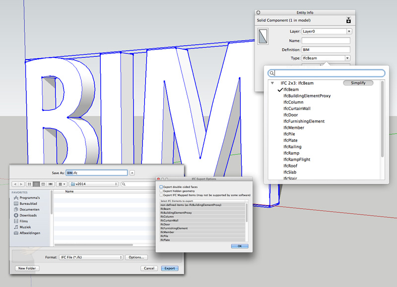 Koppel standaard IFC BIM objecttypes aan geometrie